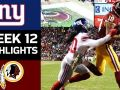 Giants vs. Redskins - NFL Week 12 Game Highlights