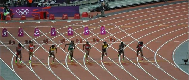 Runners starting off the 100M dash at the 2012 Londong Olympics.