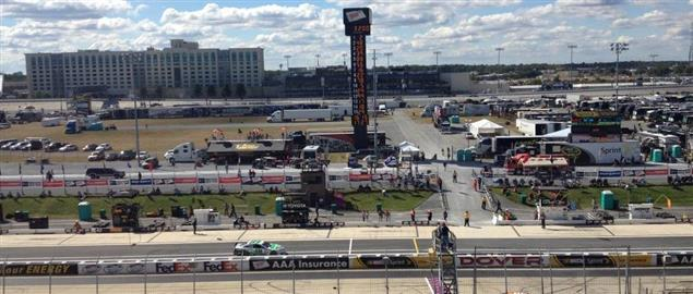 Final practice for '13 AAA 400 at Dover International Speedway viewed from the finish line
