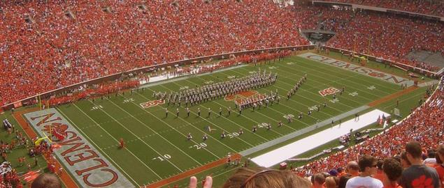 Clemson Tigers Memorial Stadium, marching band during halftime.