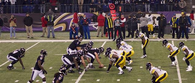 Ravens quarterback Joe Flacco under center in the Dec. 2, 2012 game vs the Steelers.