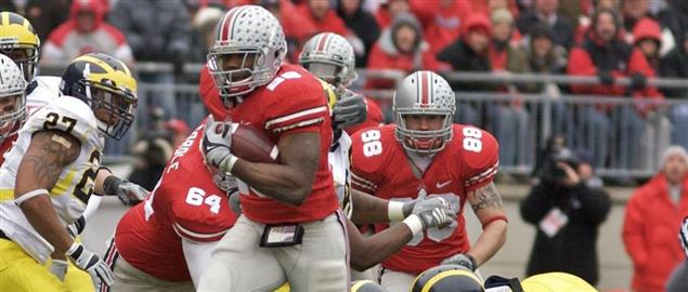Ohio State running back tries to get out of a shoestring tackle