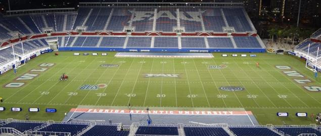 FAU Stadium at night, location of the Boca Raton Bowl.