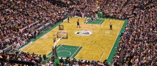 Boston Celtics player Brandon Bass lining up for a free throw shot