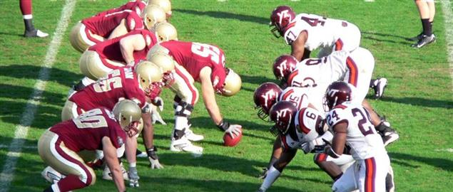 Boston College prepares to run a play on offense during the second half of the 2008 ACC C
