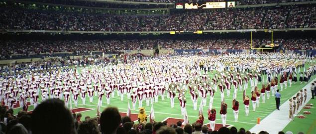 Band playing the National Anthem before the 1990 Sugar Bowl, Alabama v Miami.