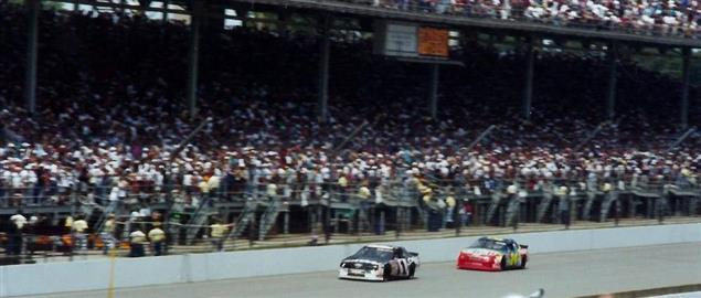'94 Brickyard 400 at the Indianapolis Motor Speedway. Jeff Gordon following Rick Mast.