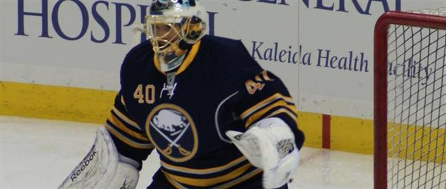 Buffalo Sabres' goalie Patrick Lalime during a 4/30/2010 matchup.
