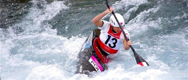 Olympian Natalia Pacierpnik paddling in the Slalom event, London 2012 Olympics.