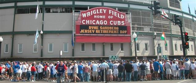 Entrance to Wrigley Field, home of the Chicago Cubs