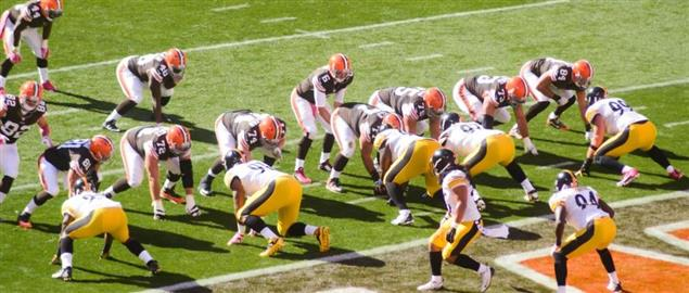 Browns on the goal line vs the Steelers, 10/12/14.