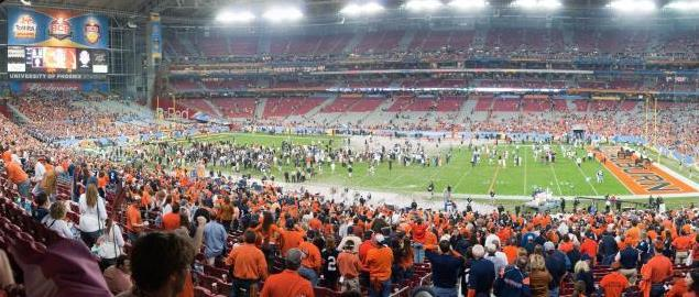 Panoramic of University of Phoenix Stadium after Auburn's National Championship win, 2011.