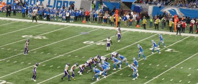 Detroit Lions on offense during 2018 divisional game vs Vikings at Ford Field in Detroit.
