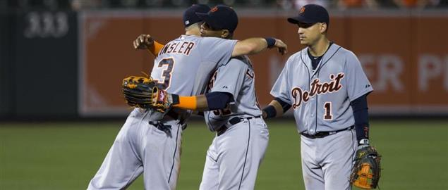 (From left to right) Ian Kinsler, Yoenis Céspedes and José Iglesias of the Detroit Tigers
