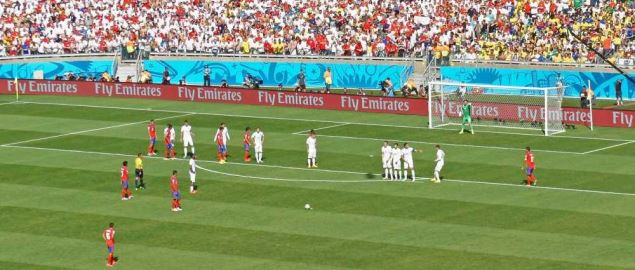 Free kick during Costa Rica and England match at the FIFA World Cup 2014.