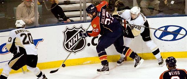 Florida Panthers' Cullimore battling for the puck vs the Penguins, 1/28/2008.