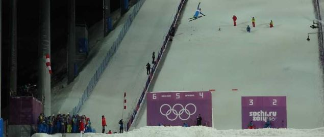 Male stage of ski acrobatics in freestyle, Sochi 2014 Winter Olympics.