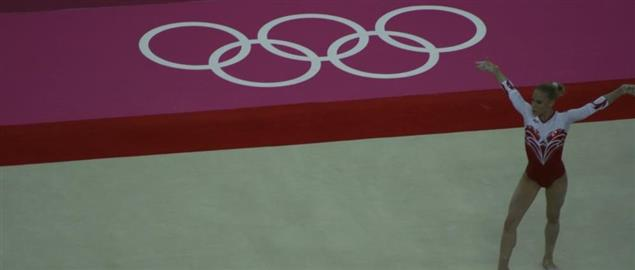 Ksenia Afanasyeva, doing a routine at the 2012 London Olympics, 7/30/2012.