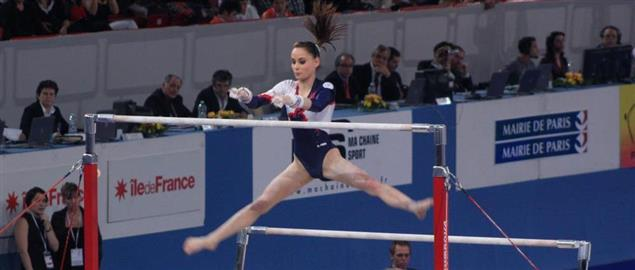 Pauline Morel doing her routine on the uneven bars, 2010 International Finals
