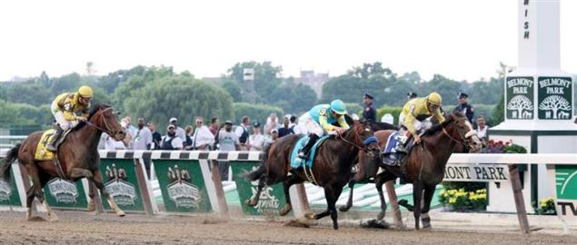 Union Rags and jockey John Velazquez on the inside, 2012 Belmont Stakes.