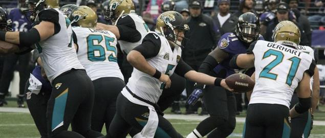 Jaguars QB Blake Bortles handing off to RB Gerhart vs Ravens, 12/14/14.