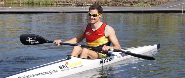 Olivier Cauwenbergh, On the water at the training site Bloso Hazewinkel in Willebroek .
