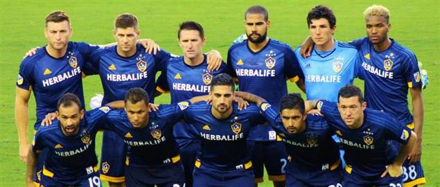 Starting lineup of the Los Angeles Galaxy before a match against Houston