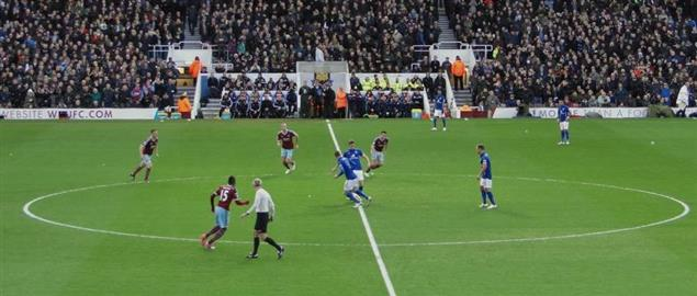 West Ham United and Leicester City kick-off their Premier League game at the Boleyn Ground