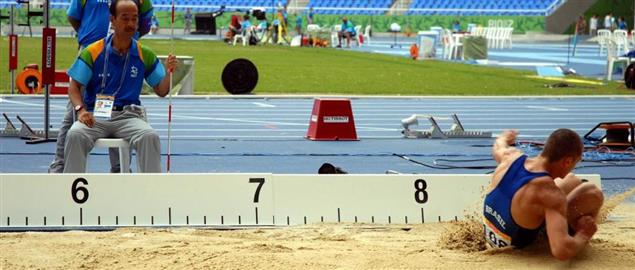 Long jump competition in Rio 2007 event.