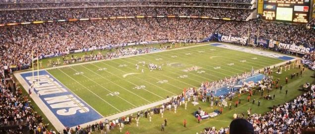 Qualcomm Stadium during Chargers' playoff game against New England, 1/14/07.
