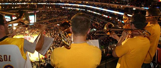 The Los Angeles Laker Band performs at the opening game