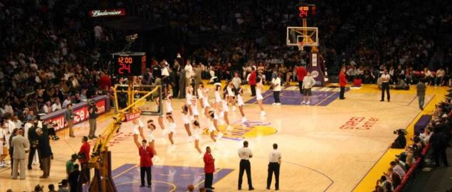 Cheerleaders perform during a LA Lakers game in Staples Center in 2008.