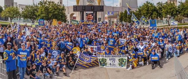 Rally held at the Los Angeles Memorial Coliseum in support of Rams moving back to SoCal