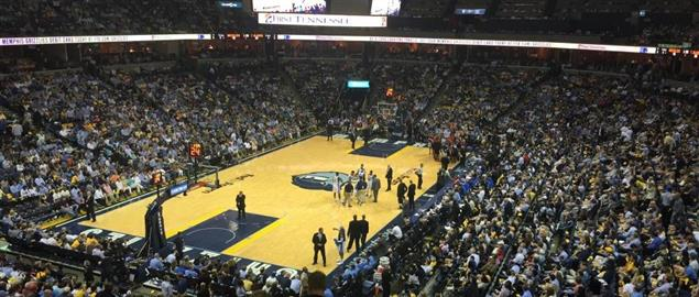 FedExForum in Memphis, TN during a Memphis Grizzlies basketball game.