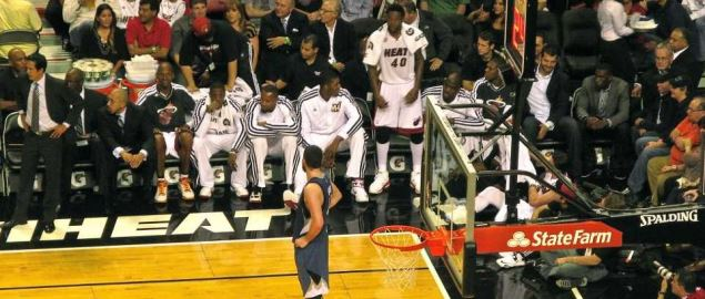 Miami Heat bench of players and coaches during a 2012 home game vs Timberwolves.