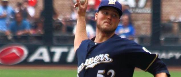 Brewers Jimmy Nelson pitching against the St. Louis Cardinals, 7/12/14.