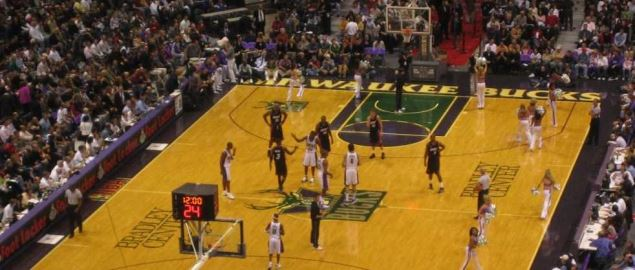 Milwaukee Bucks in their home opener at Fiserv Forum vs the Heat in 2005.