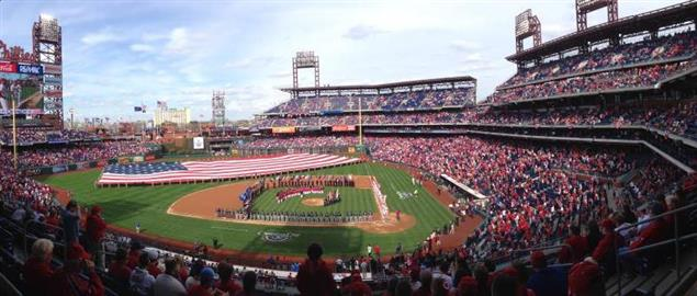 A panoramic shot of Citizens Bank Park on opening day, April 8, 2014.
