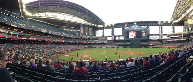 The view from Chase Field during a game between the AZ Diamondbacks and SD Padres.