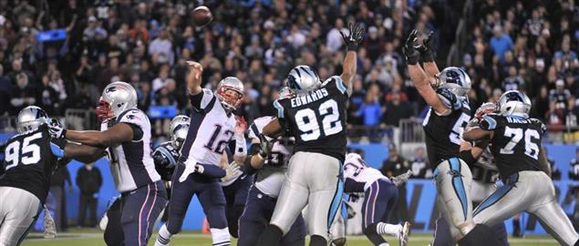Patriots battle the Panthers during a regular season Monday Night Football game, 11/18/13.