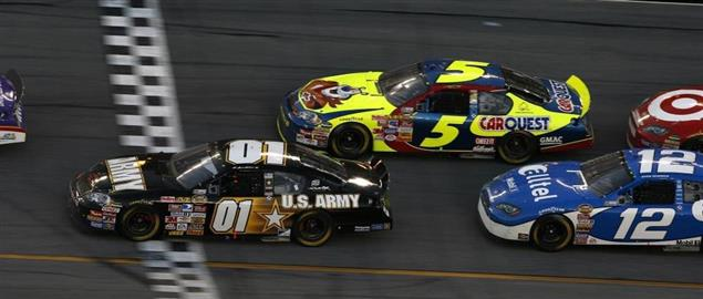 Kevin Harvick stealing the lead on the final lap over Mark Martin at Daytona 500, 2007.