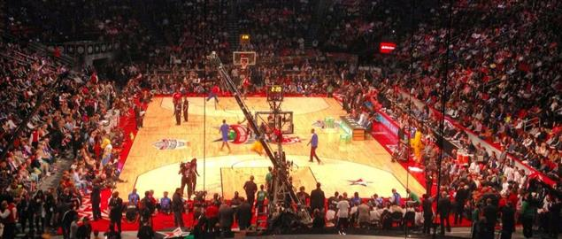 Spectators inside the Toyota Center await the start of the NBA Slam Dunk contest, 2013.
