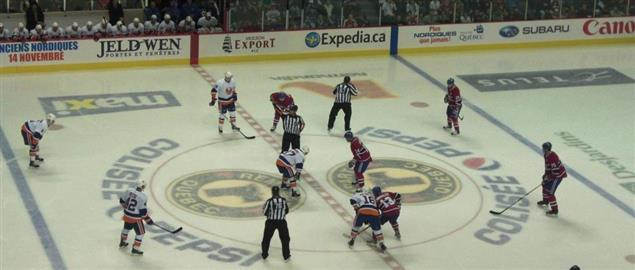 Beginning of the game between the Montreal Canadiens and NY Islanders. 10/2/10.