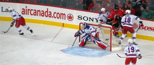Action during a New York Rangers at Calgary Flames game, 1/2/2008.