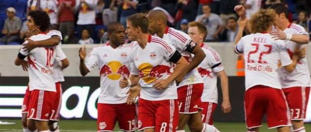 Red Bulls players celebrating after scoring a goal
