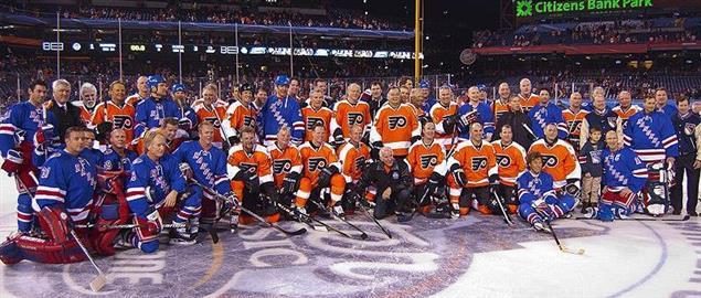 Group portrait of the Philadelphia Flyers and New York Rangers