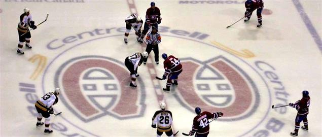 Bruins facing off against the Canadiens in the 2007 season.