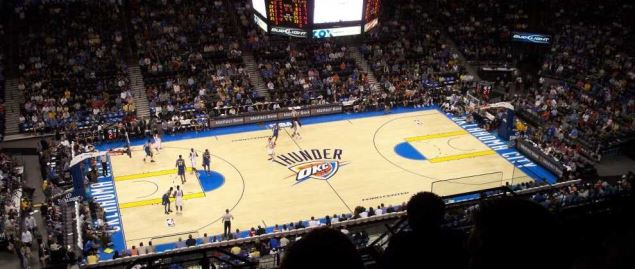Oklahoma City Thunder during a home game at Chesapeake Energy Arena in 2008.