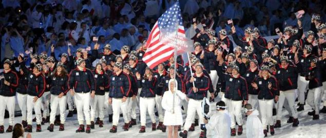 Team USA marches during the Opening Ceremony of the XXI Olympic Winter Games.
