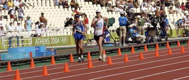 20K Racewalk competition during the 2004 Olympics at the Olympic Stadium in Athens, Greece